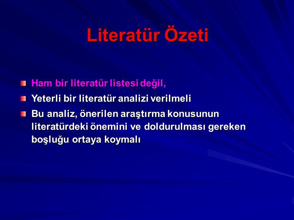 Literatür Özeti Ham bir literatür listesi değil,