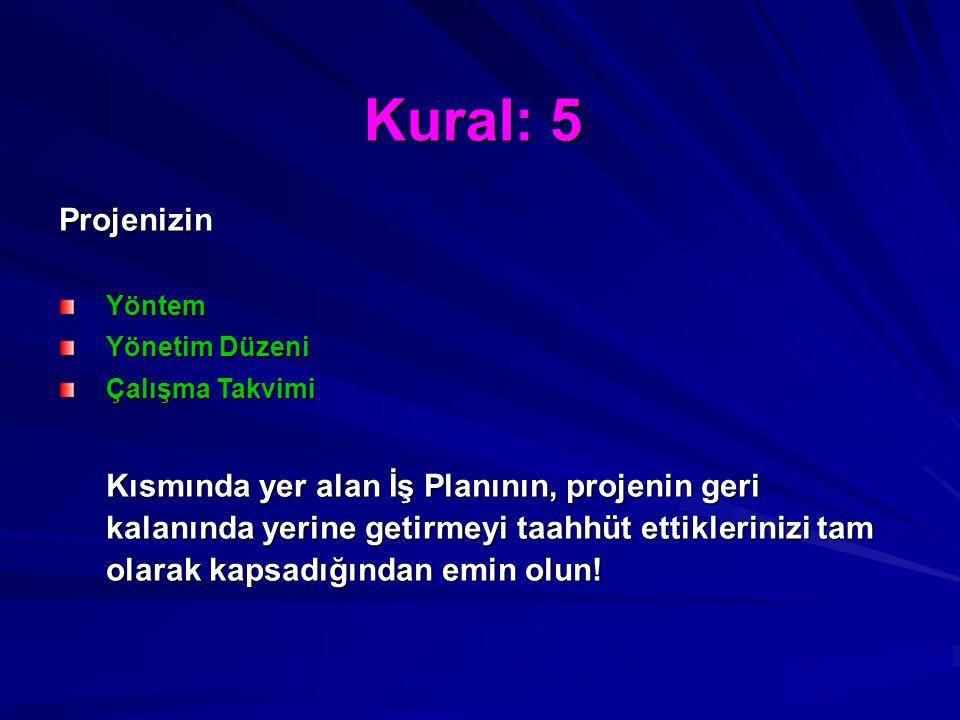 Kural: 5 Projenizin. Yöntem. Yönetim Düzeni. Çalışma Takvimi.