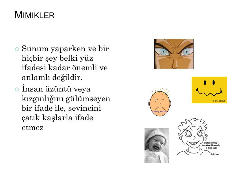 Mimikler Sunum yaparken ve bir hiçbir şey belki yüz ifadesi kadar önemli ve anlamlı değildir.