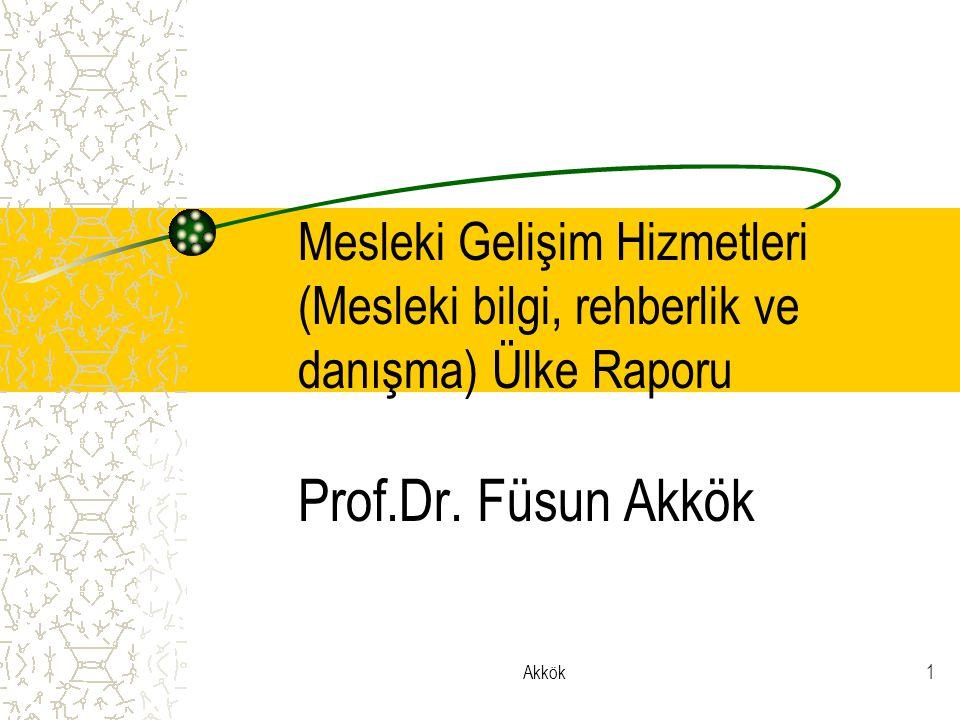 Mesleki Gelişim Hizmetleri (Mesleki bilgi, rehberlik ve danışma) Ülke Raporu Prof.Dr. Füsun Akkök