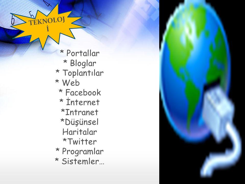 * Portallar * Bloglar * Toplantılar * Web * Facebook * İnternet