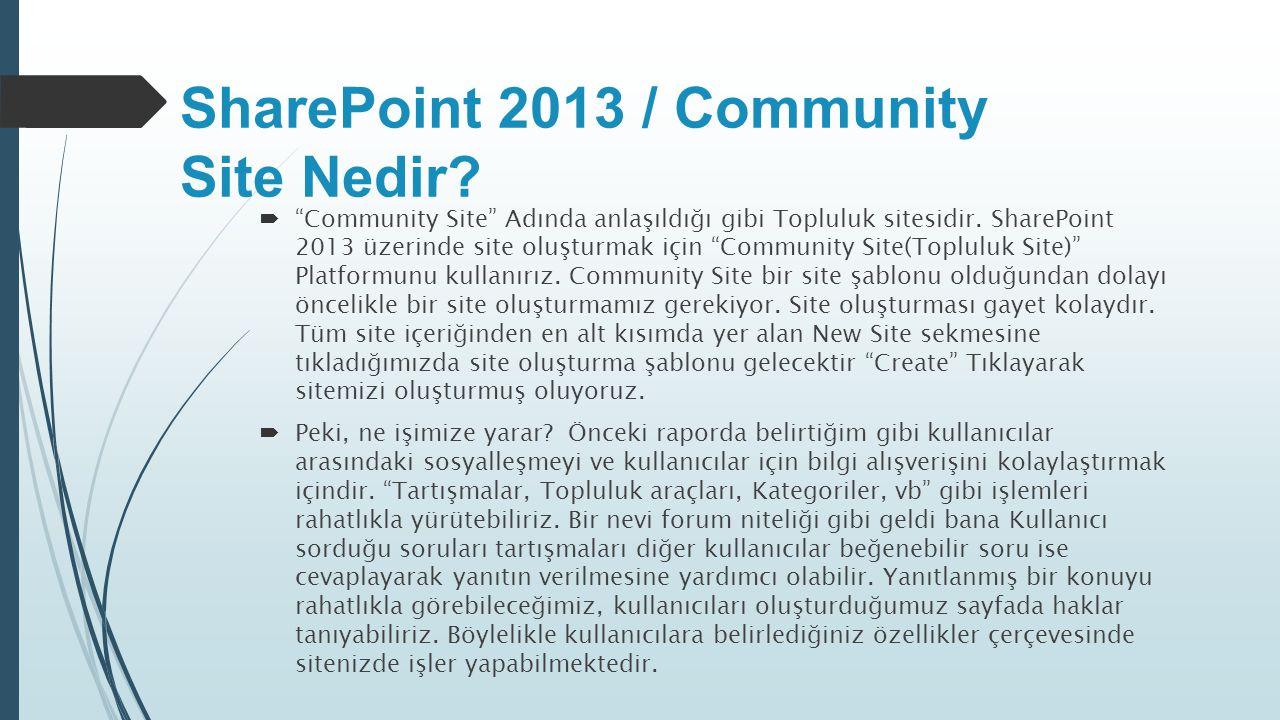 SharePoint 2013 / Community Site Nedir