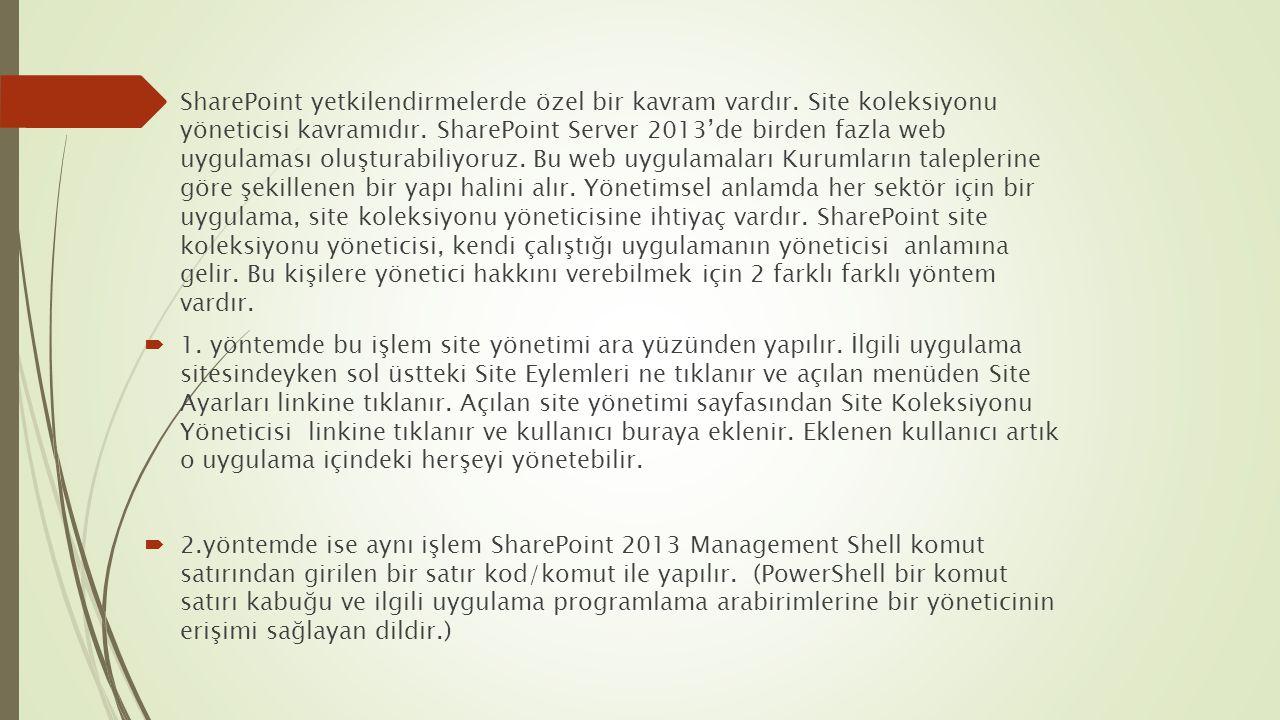 SharePoint yetkilendirmelerde özel bir kavram vardır