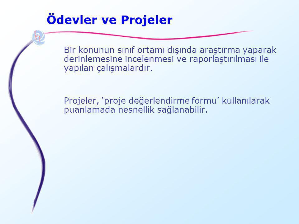 Ödevler ve Projeler Bir konunun sınıf ortamı dışında araştırma yaparak derinlemesine incelenmesi ve raporlaştırılması ile yapılan çalışmalardır.