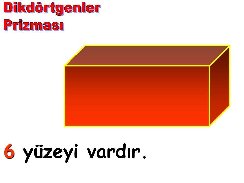 Dikdörtgenler Prizması 6 yüzeyi vardır.