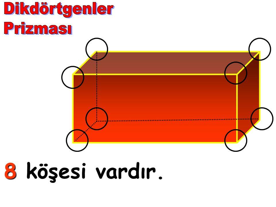 Dikdörtgenler Prizması 8 köşesi vardır.