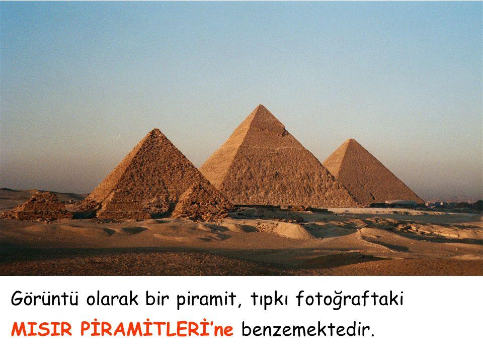 Görüntü olarak bir piramit, tıpkı fotoğraftaki