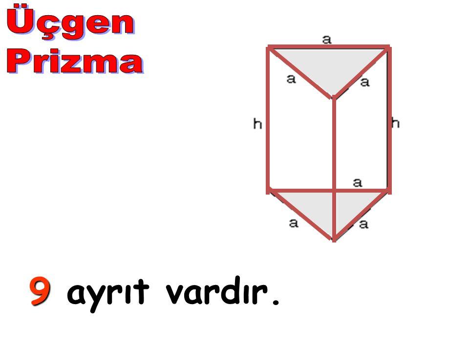 Üçgen Prizma 9 ayrıt vardır.