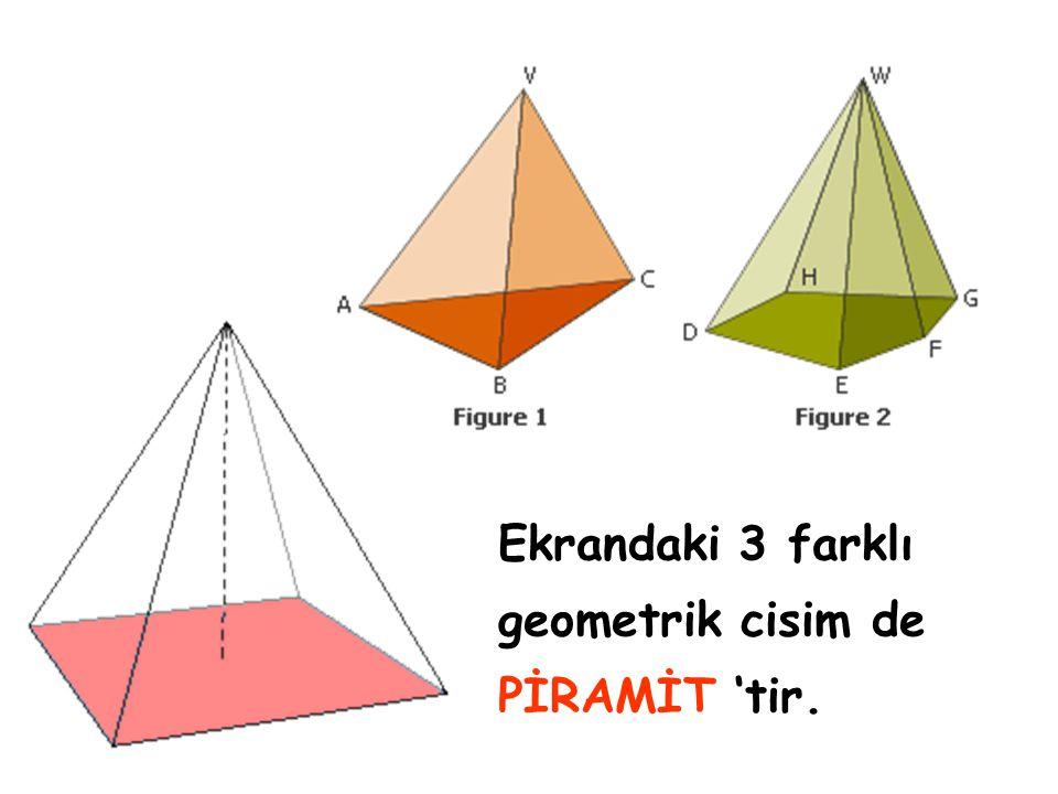 Ekrandaki 3 farklı geometrik cisim de PİRAMİT 'tir.