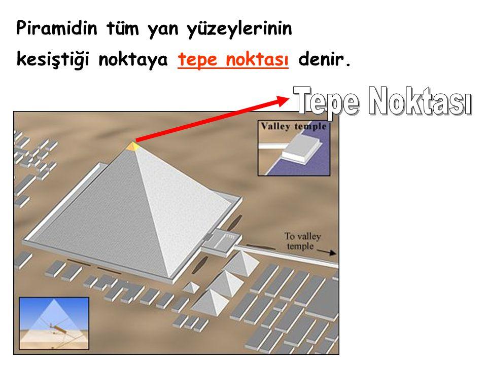 Tepe Noktası Piramidin tüm yan yüzeylerinin