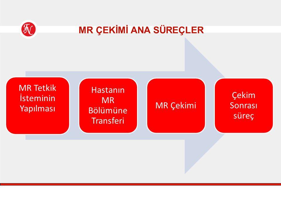 MR Tetkik İsteminin Yapılması Hastanın MR Bölümüne Transferi MR Çekimi
