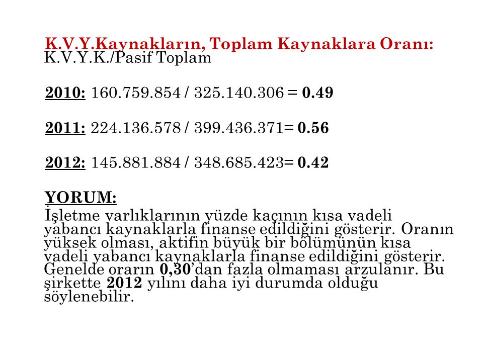 K. V. Y. Kaynakların, Toplam Kaynaklara Oranı: K. V. Y. K