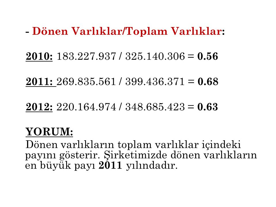 - Dönen Varlıklar/Toplam Varlıklar: 2010: 183. 227. 937 / 325. 140