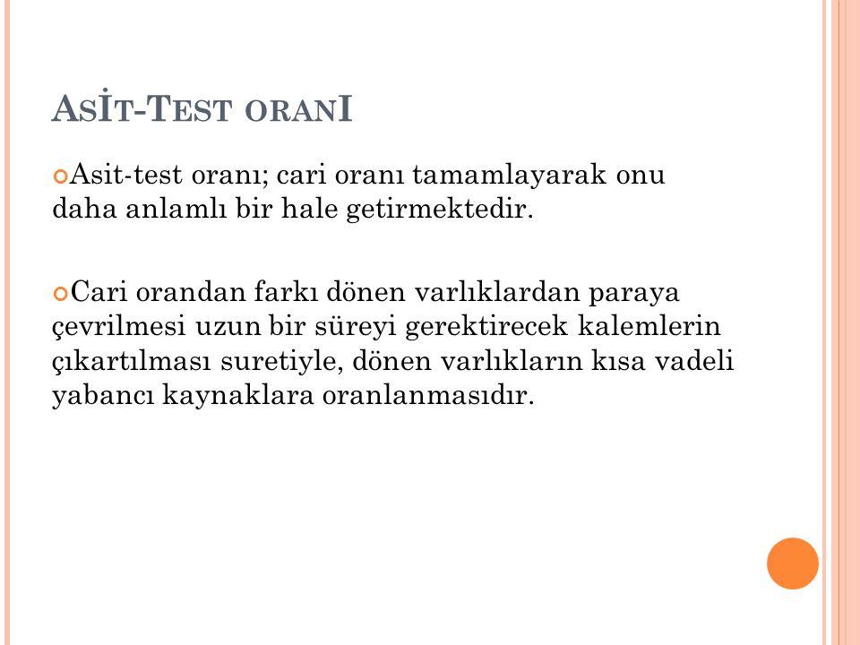 Asİt-Test oranI Asit-test oranı; cari oranı tamamlayarak onu daha anlamlı bir hale getirmektedir.