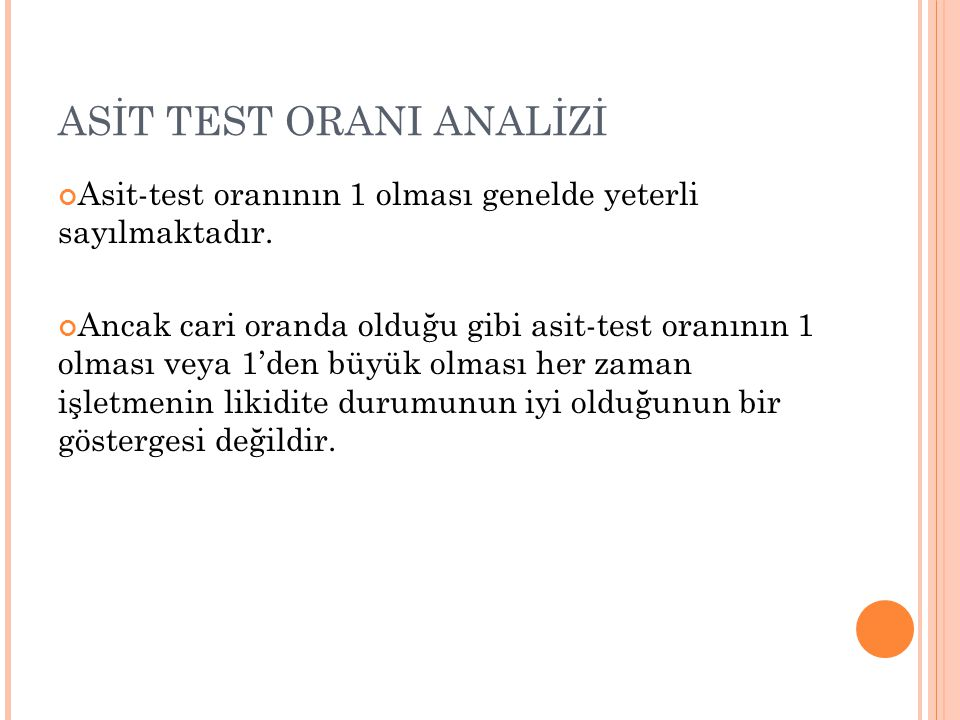 ASİT TEST ORANI ANALİZİ