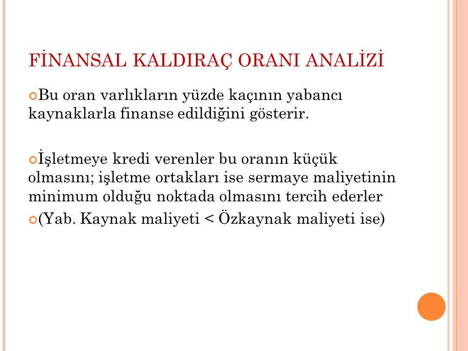 FİNANSAL KALDIRAÇ ORANI ANALİZİ