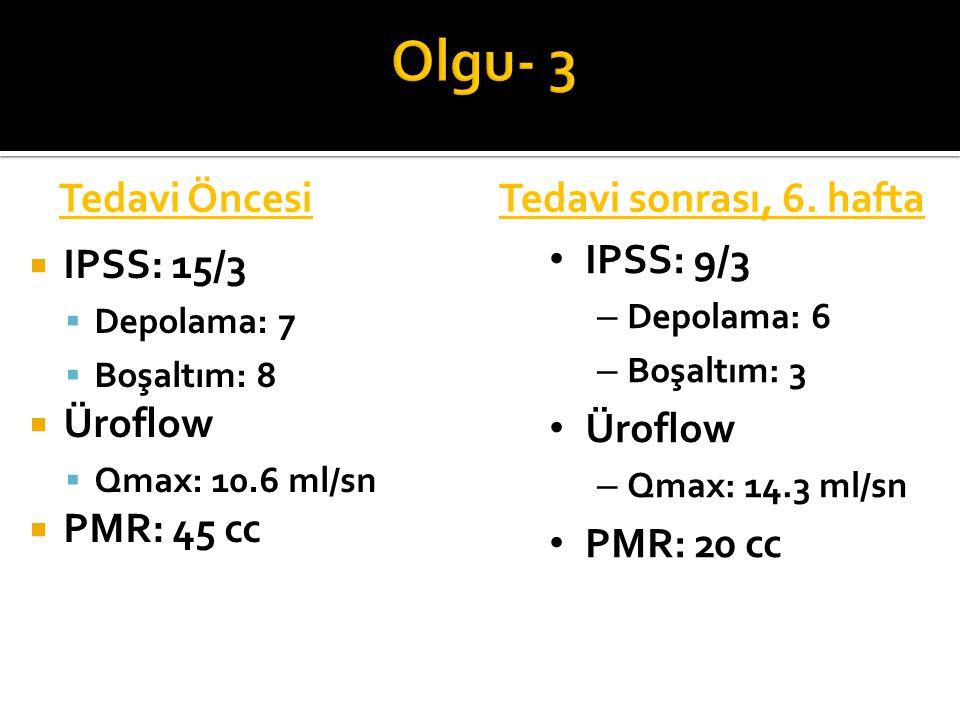 Olgu- 3 Tedavi Öncesi Tedavi sonrası, 6. hafta IPSS: 15/3 Üroflow