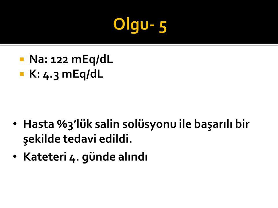 Olgu- 5 Na: 122 mEq/dL K: 4.3 mEq/dL Hangi tedavi