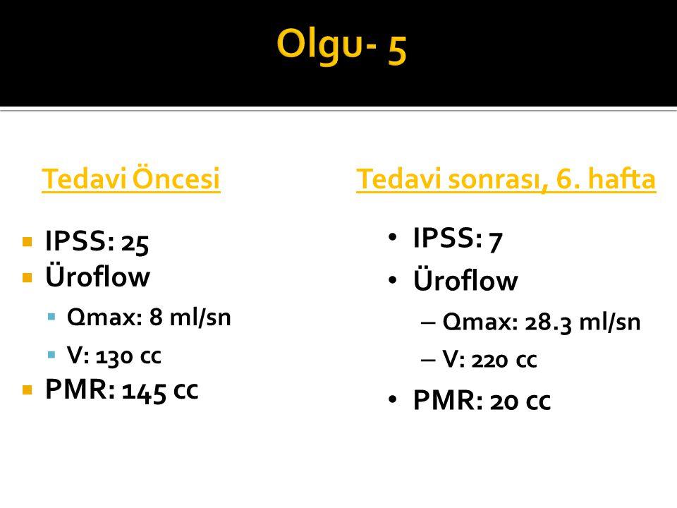 Olgu- 5 Tedavi Öncesi Tedavi sonrası, 6. hafta IPSS: 25 Üroflow