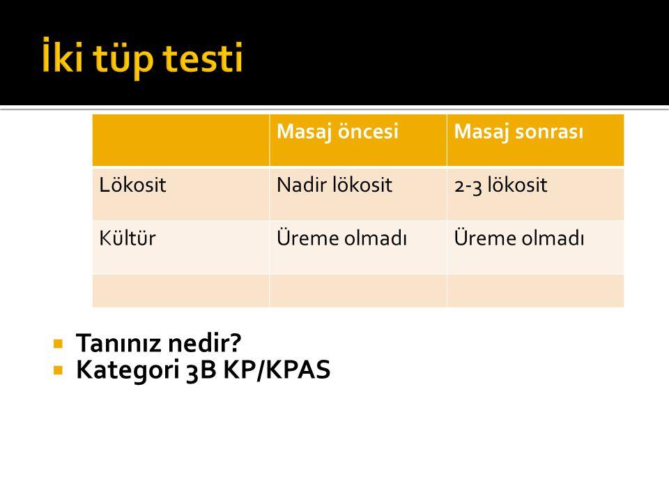 İki tüp testi Tanınız nedir Kategori 3B KP/KPAS Masaj öncesi