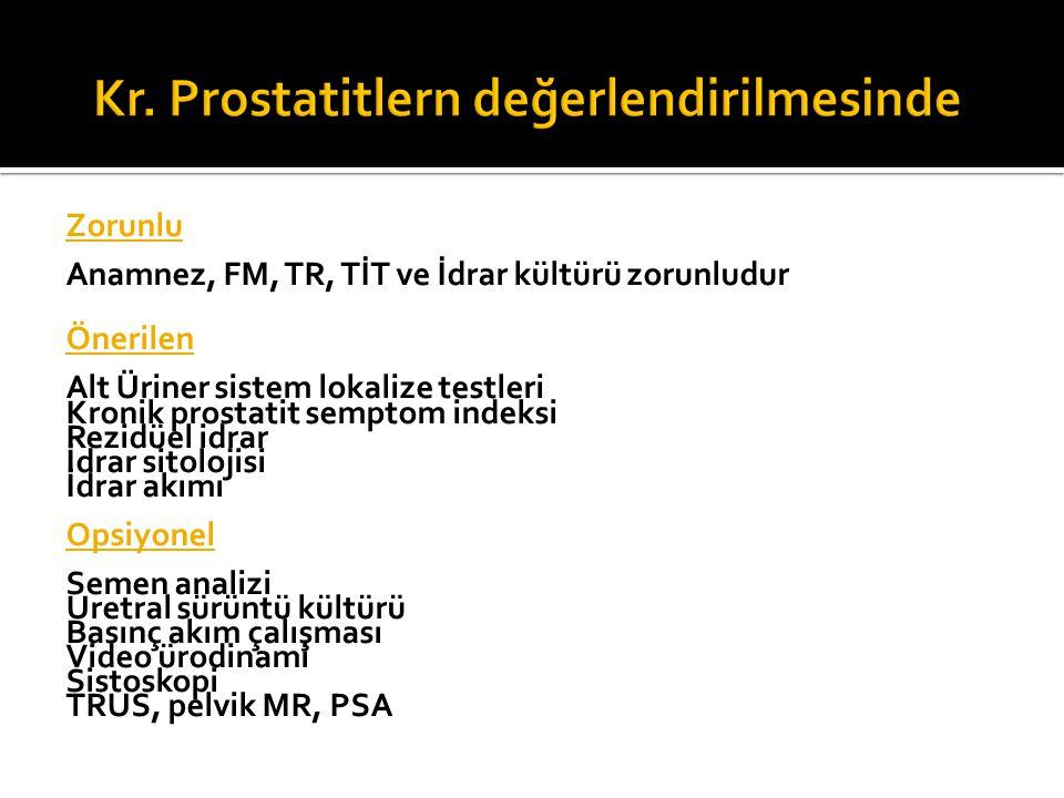 Kr. Prostatitlern değerlendirilmesinde