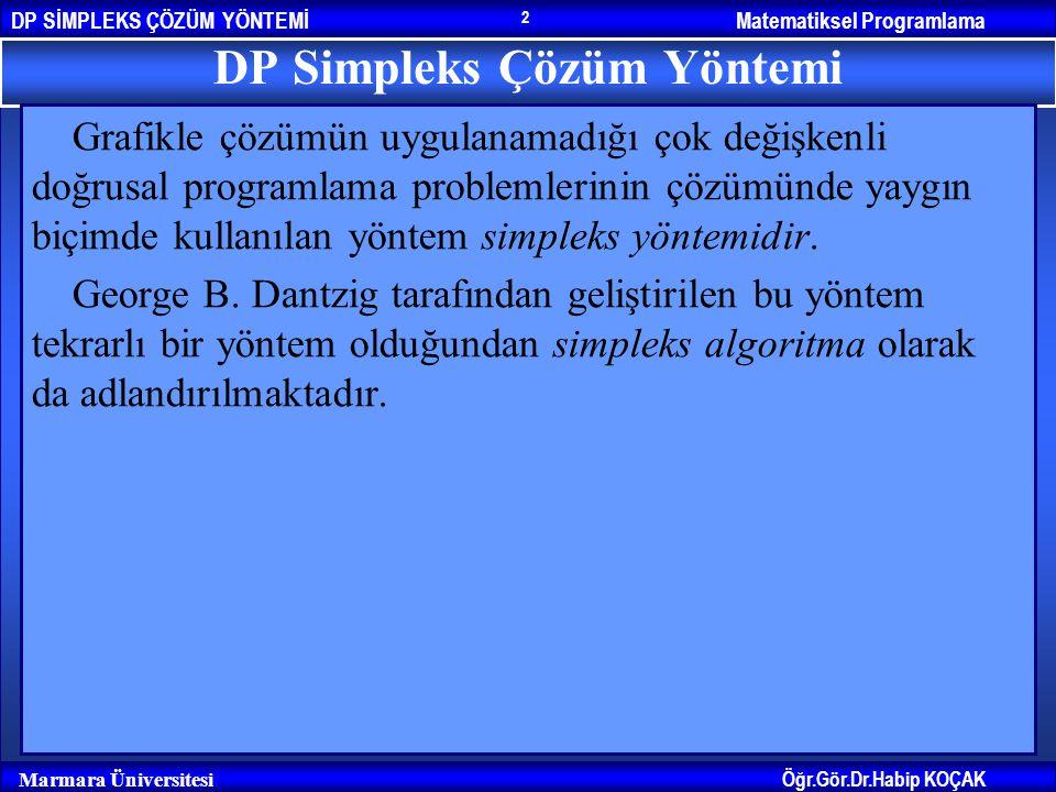 DP Simpleks Çözüm Yöntemi