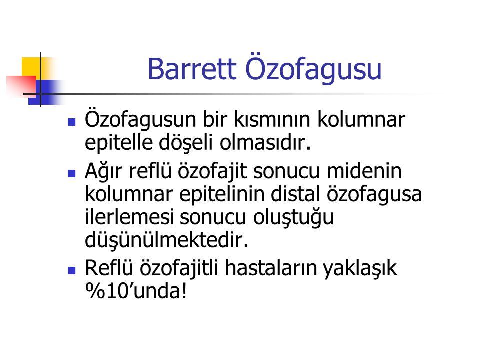 Barrett Özofagusu Özofagusun bir kısmının kolumnar epitelle döşeli olmasıdır.