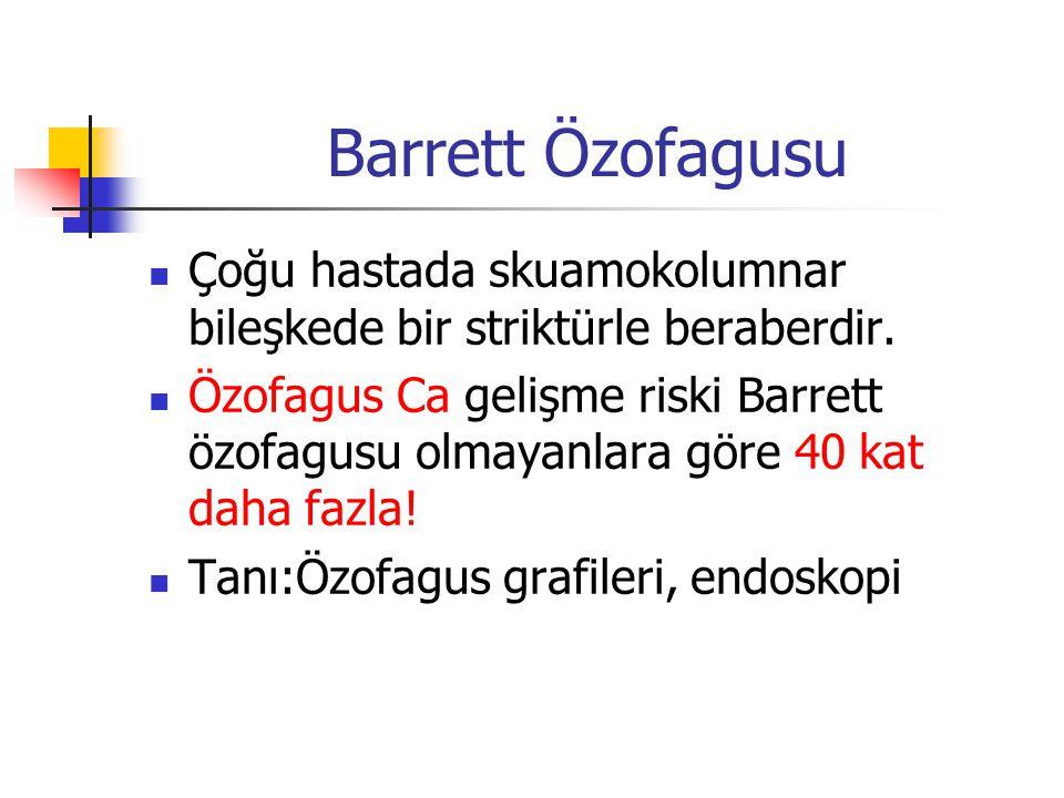 Barrett Özofagusu Çoğu hastada skuamokolumnar bileşkede bir striktürle beraberdir.