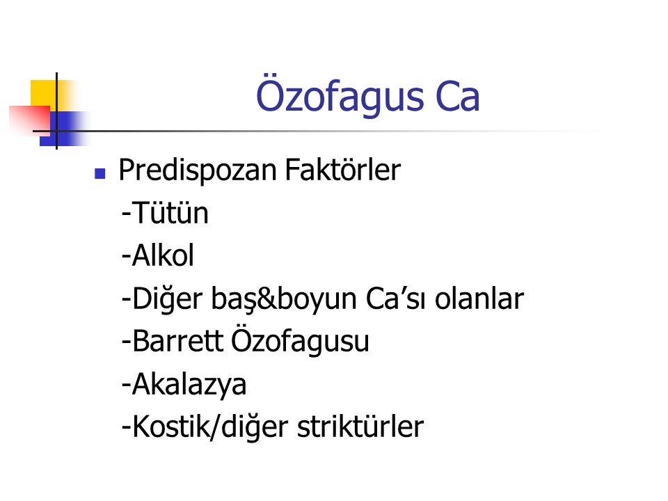 Özofagus Ca Predispozan Faktörler -Tütün -Alkol