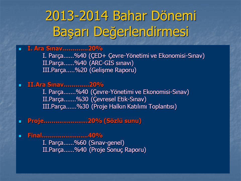 2013-2014 Bahar Dönemi Başarı Değerlendirmesi
