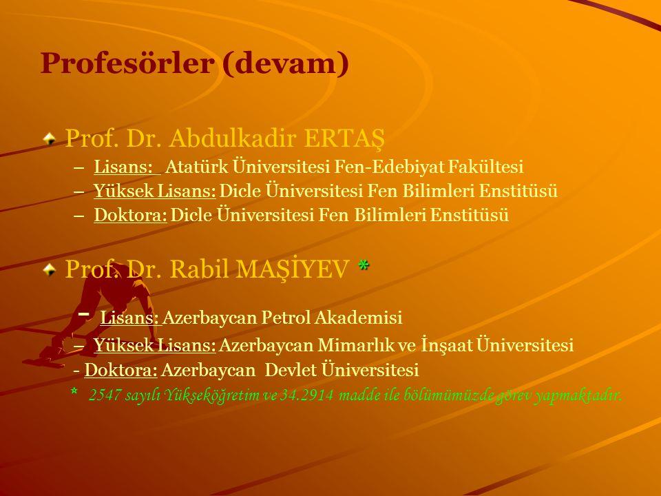 Profesörler (devam) Prof. Dr. Abdulkadir ERTAŞ