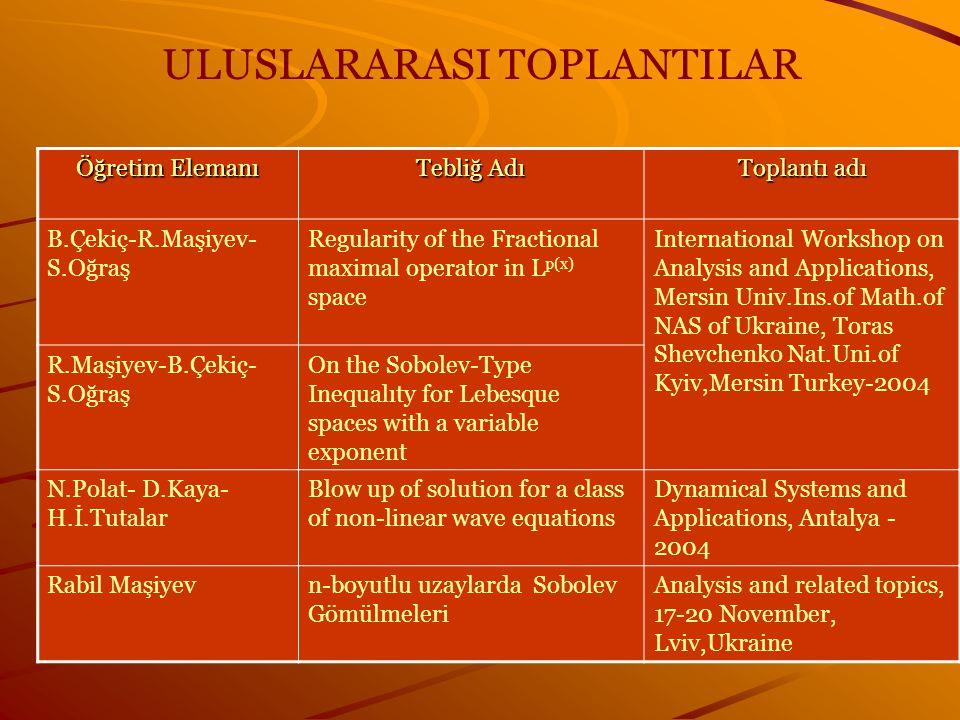 ULUSLARARASI TOPLANTILAR