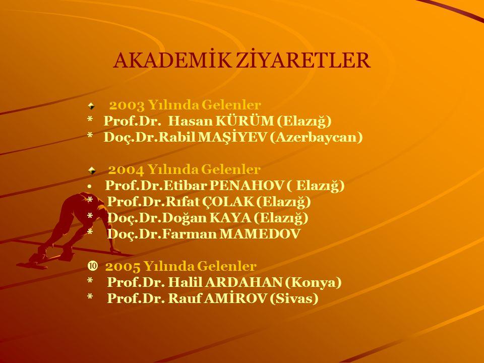 AKADEMİK ZİYARETLER * Prof.Dr. Hasan KÜRÜM (Elazığ)