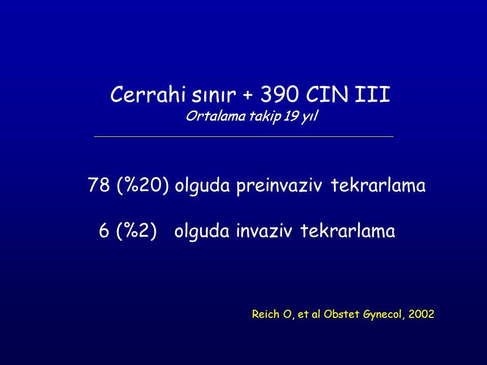 Cerrahi sınır + 390 CIN III 78 (%20) olguda preinvaziv tekrarlama