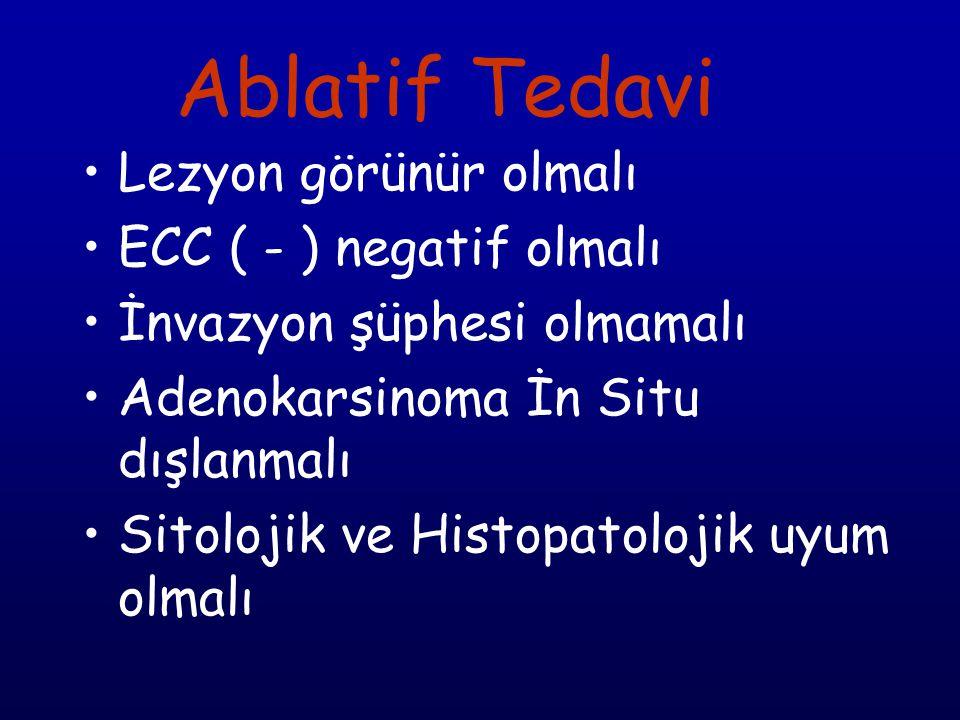 Ablatif Tedavi Lezyon görünür olmalı ECC ( - ) negatif olmalı