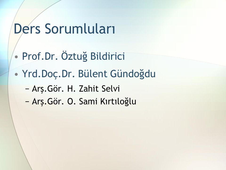 Ders Sorumluları Prof.Dr. Öztuğ Bildirici Yrd.Doç.Dr. Bülent Gündoğdu