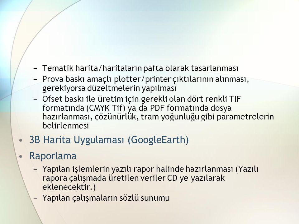 3B Harita Uygulaması (GoogleEarth) Raporlama