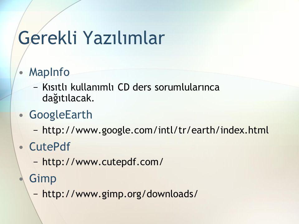Gerekli Yazılımlar MapInfo GoogleEarth CutePdf Gimp