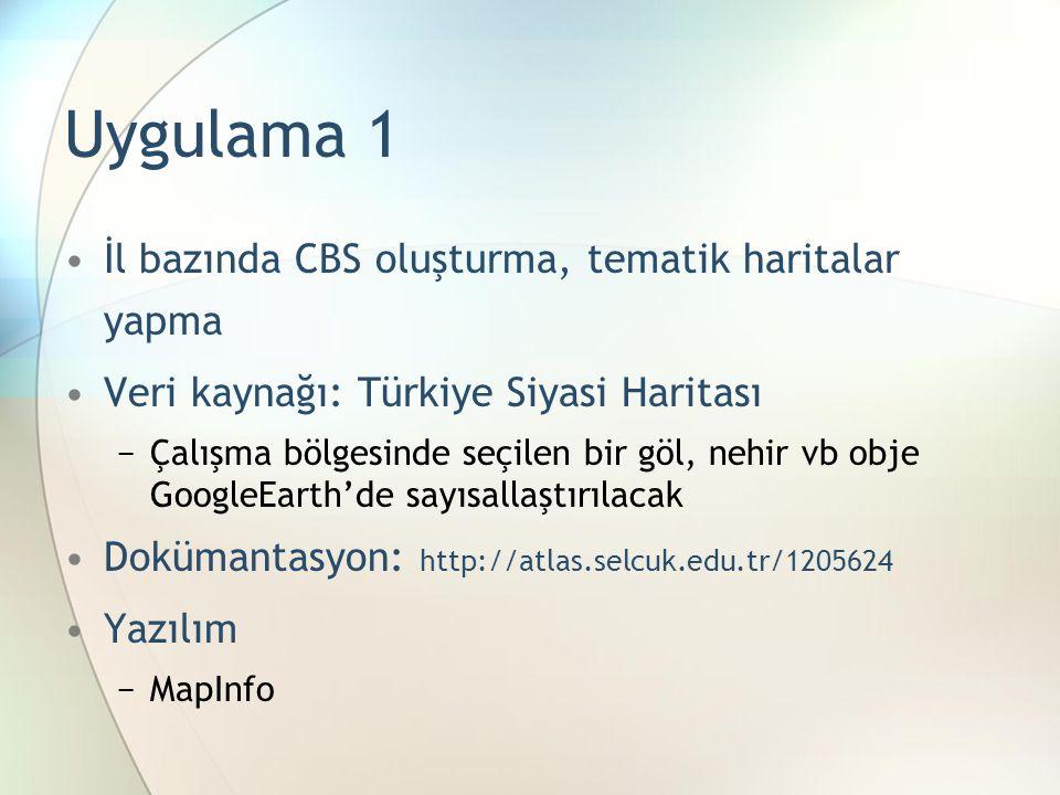 Uygulama 1 İl bazında CBS oluşturma, tematik haritalar yapma