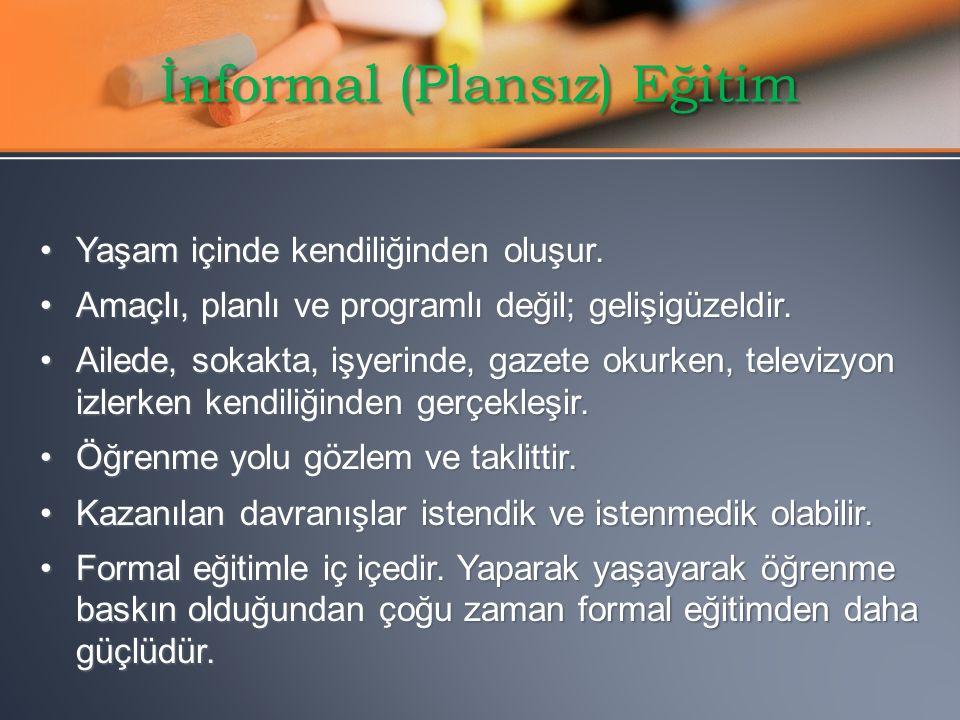 İnformal (Plansız) Eğitim