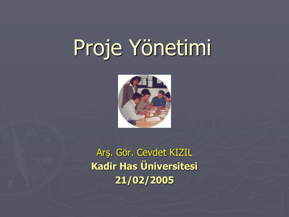 Arş. Gör. Cevdet KIZIL Kadir Has Üniversitesi 21/02/2005