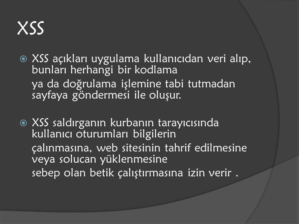 XSS XSS açıkları uygulama kullanıcıdan veri alıp, bunları herhangi bir kodlama.