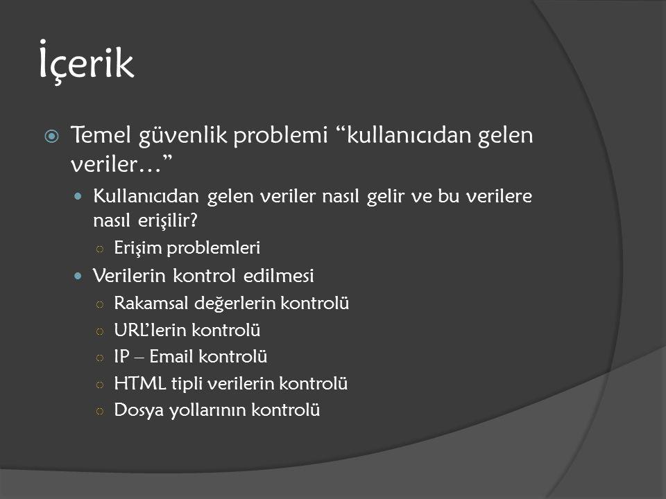 İçerik Temel güvenlik problemi kullanıcıdan gelen veriler…