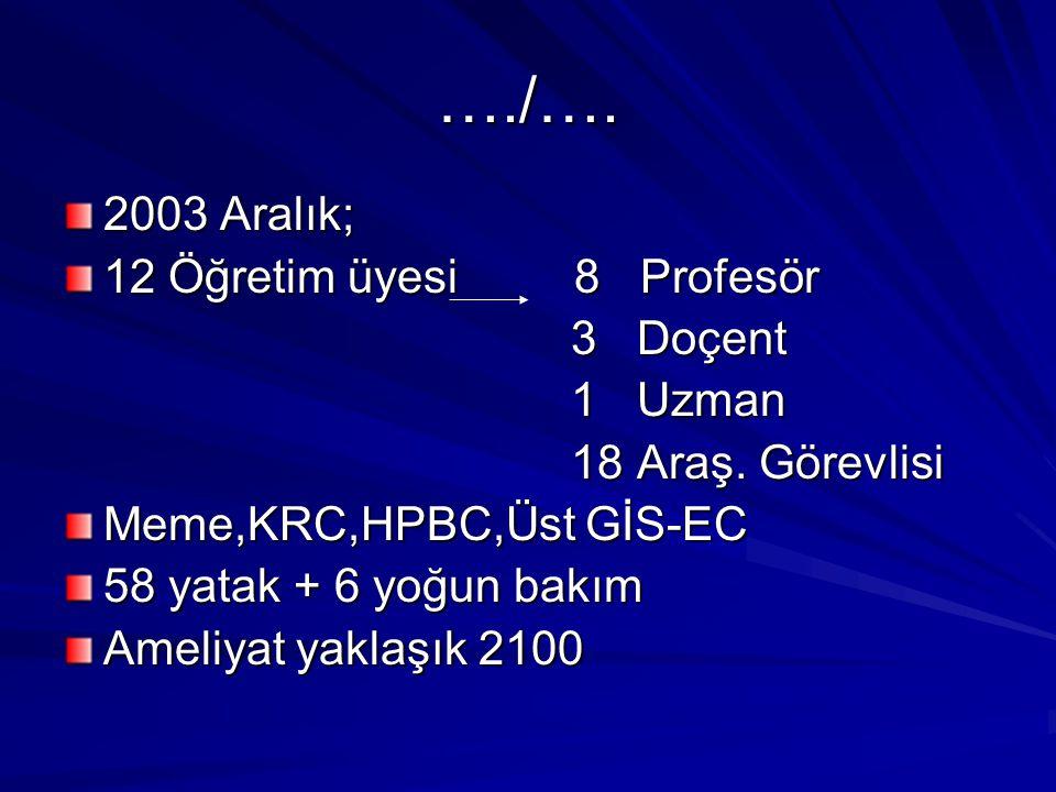 …./…. 2003 Aralık; 12 Öğretim üyesi 8 Profesör 3 Doçent 1 Uzman