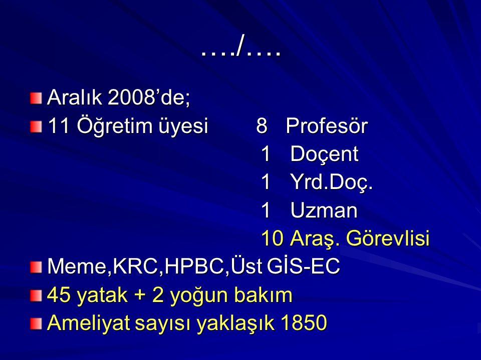 …./…. Aralık 2008'de; 11 Öğretim üyesi 8 Profesör 1 Doçent 1 Yrd.Doç.