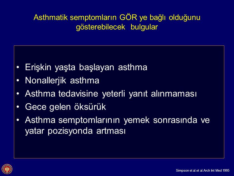 Asthmatik semptomların GÖR ye bağlı olduğunu gösterebilecek bulgular