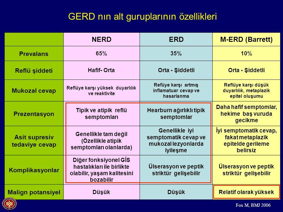 GERD nın alt guruplarının özellikleri