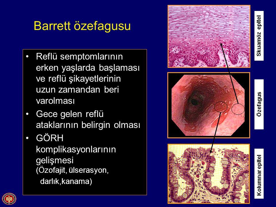 Barrett özefagusu Skuamöz epitel. Reflü semptomlarının erken yaşlarda başlaması ve reflü şikayetlerinin uzun zamandan beri varolması.
