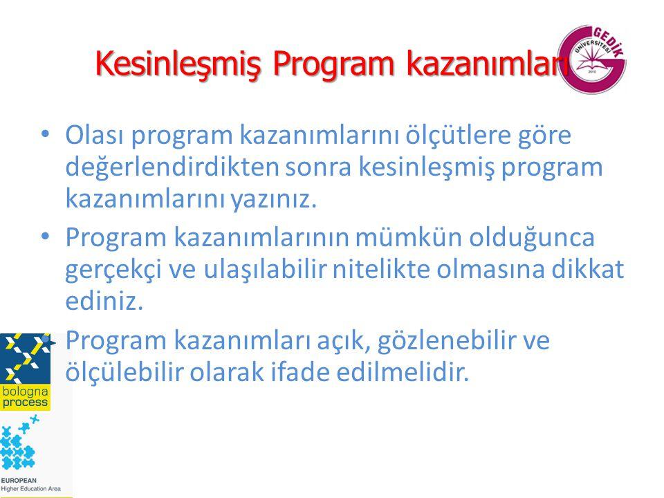 Kesinleşmiş Program kazanımları