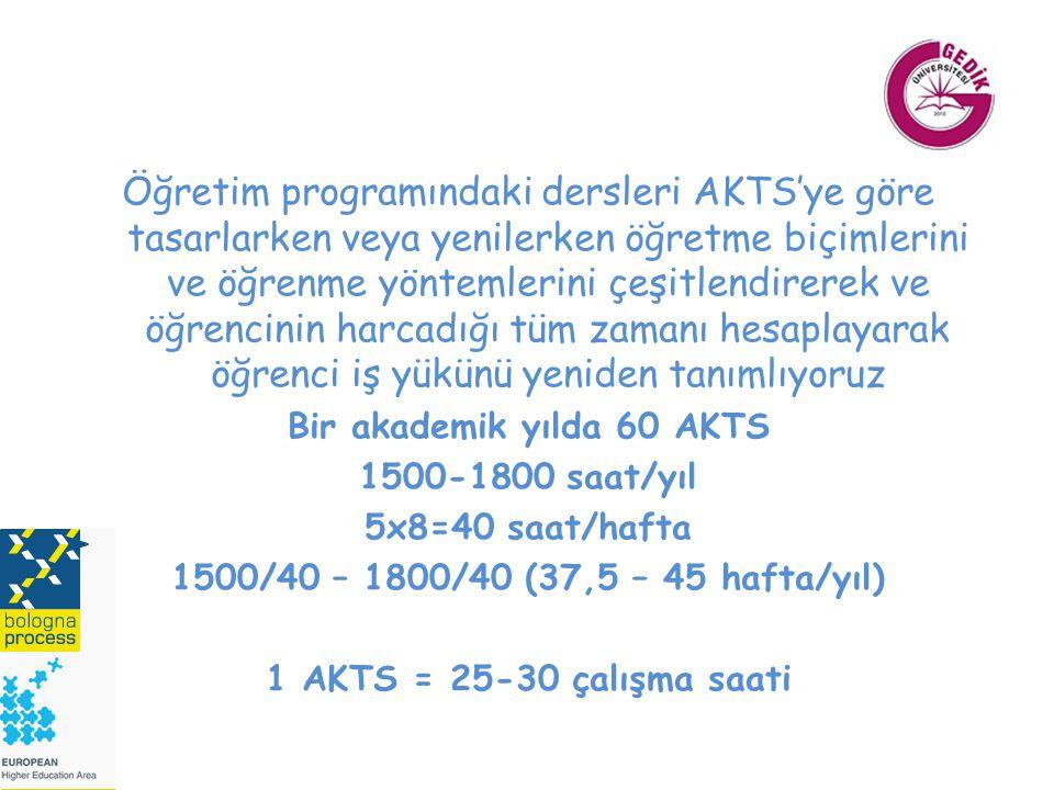Bir akademik yılda 60 AKTS